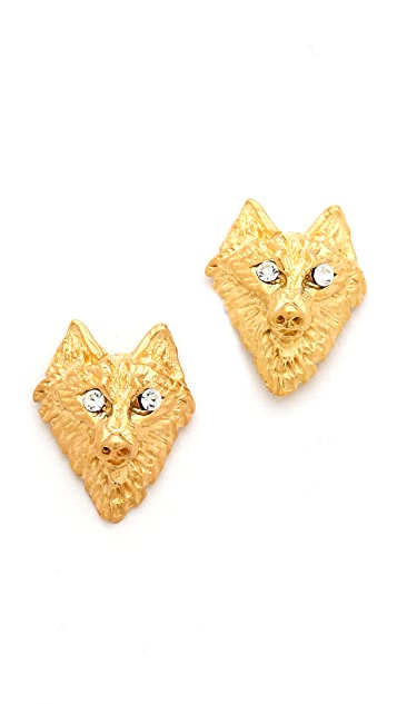 TOM BINNS Crystal Wolf Earrings