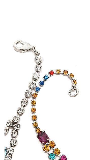 TOM BINNS Faux Real Asymmetrical Crystal Necklace