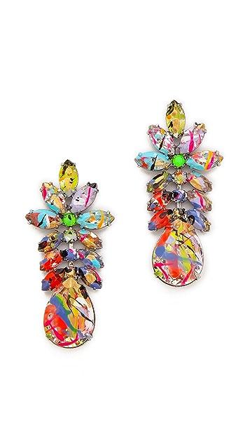 TOM BINNS A Riot of Color Splash Crystal Earrings