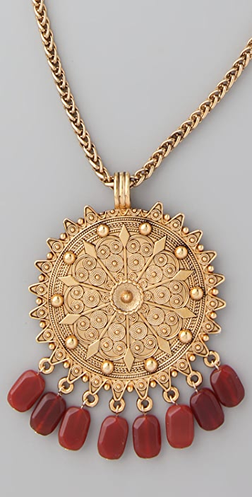 Theodora & Callum Medallion Stone Fringe Necklace