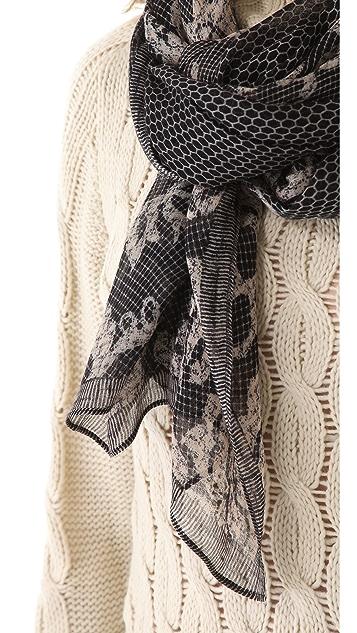 Theodora & Callum Graphic Lace Gauzy Scarf