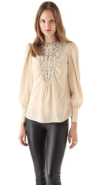 Temperley London Metallic Lace Inset Blouse