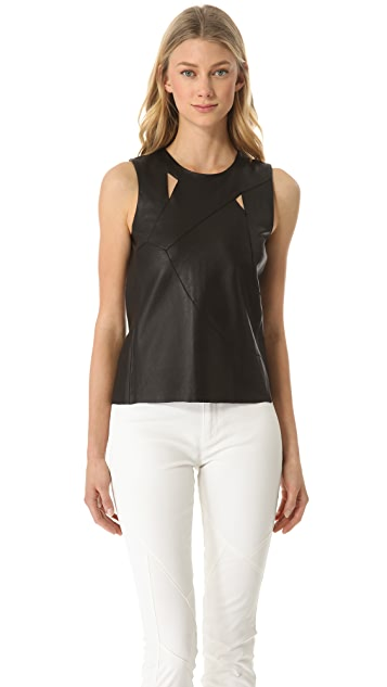 Tess Giberson Reassembled Leather Top