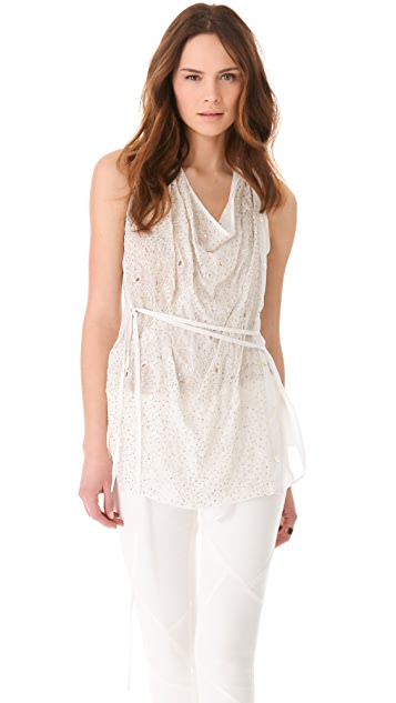 Tess Giberson Sleeveless Sequin Shirt with Ties