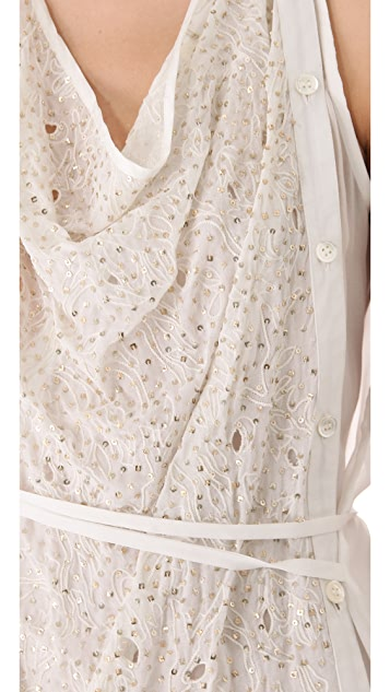 Tess Giberson Sleeveless Sequin Shirt with Ties
