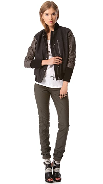 Tess Giberson Bomber Jacket with Leather Sleeves