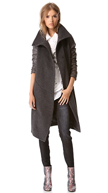 Tess Giberson Leather Sleeve Trench Coat