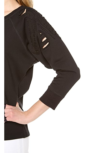 Tess Giberson Sweatshirt Top with Embroiderey