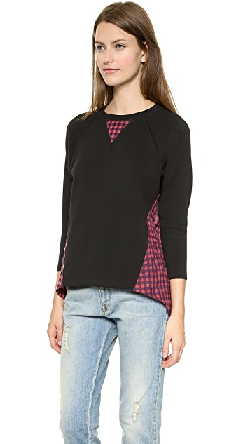 Tess Giberson Sweatshirt with Gingham Shirting