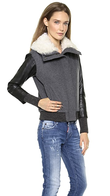 Tess Giberson Bomber with Fur Collar