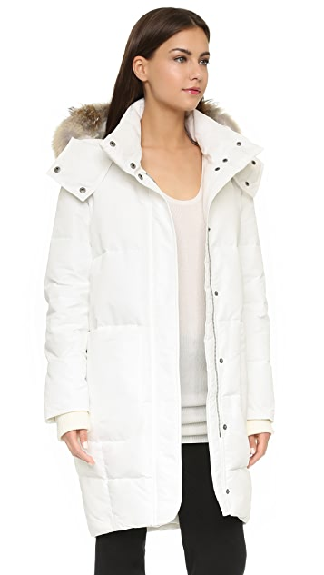 Tess Giberson Down Cocoon Parka with Fur Trim