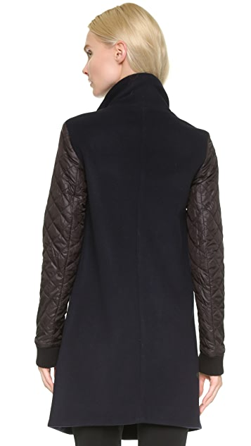 Tess Giberson Wool Coat with Quilted Sleeves