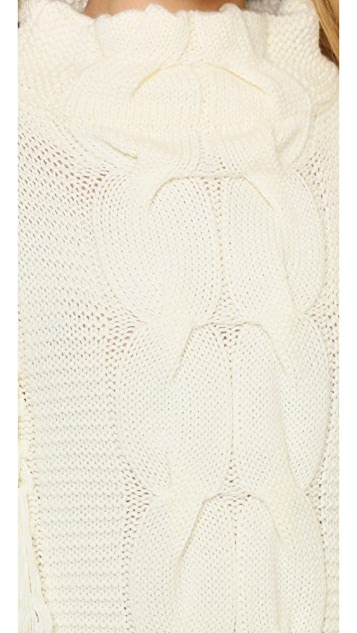Tess Giberson Chunky Cable & Fringe Funnel Neck Sweater