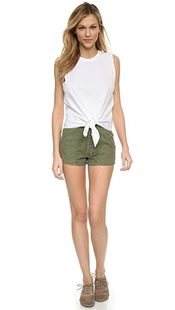THE GREAT. The High Waist Army Shorts