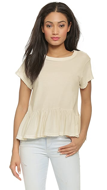 THE GREAT. The Ruffle Tee - Washed White