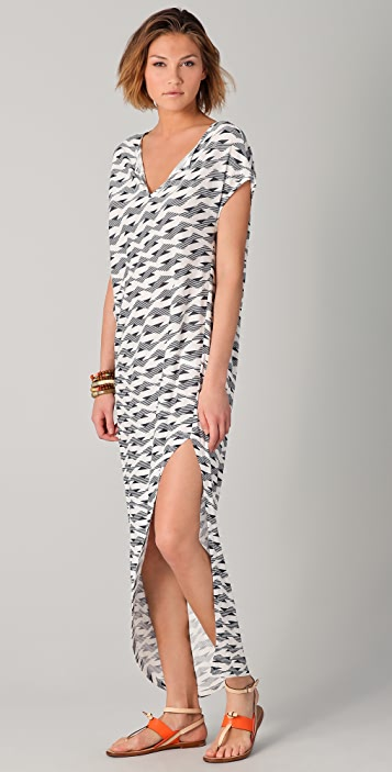 Thakoon Addition Slit Front Geometric Print Gown