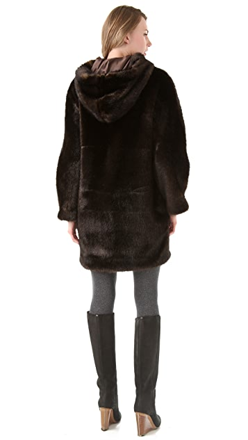 Thakoon Addition Faux Fur Hooded Coat