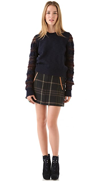 Thakoon Addition Plaid Miniskirt with Leather Trim
