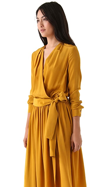 Thakoon Addition Long Sleeve Wrap Dress