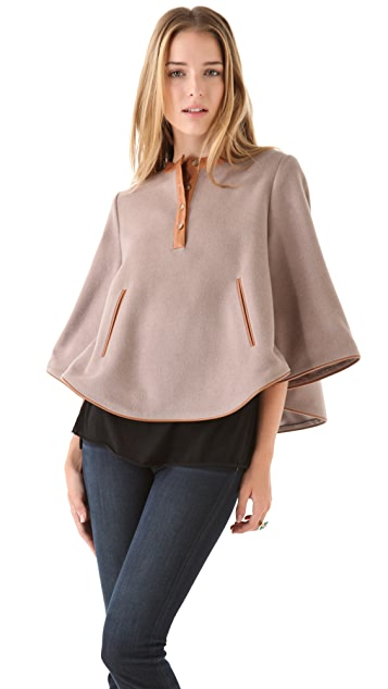 Thakoon Addition Leather Trim Crop Cape