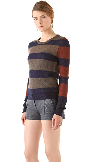 Thakoon Addition Striped Mohair Crewneck