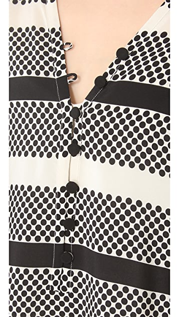 Thakoon Addition Dot & Stripe Caftan