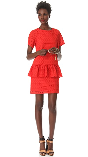 Thakoon Addition Eyelet Peplum Dress