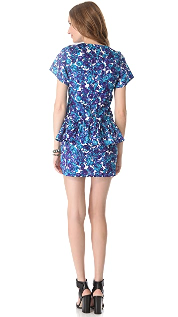 Thakoon Addition Watercolor Floral Peplum Dress