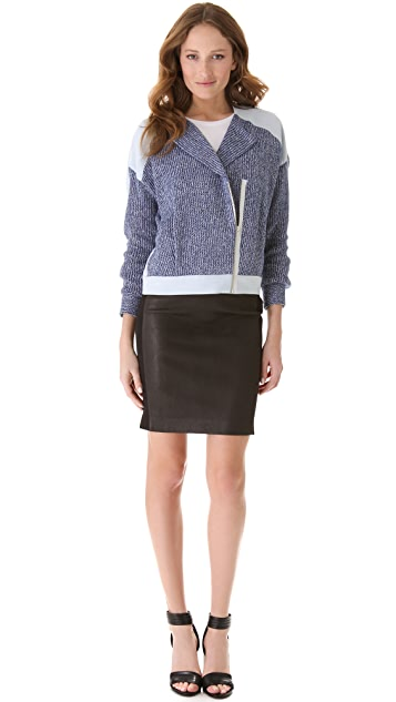 Thakoon Addition Denim Eyelet Contrast Jacket