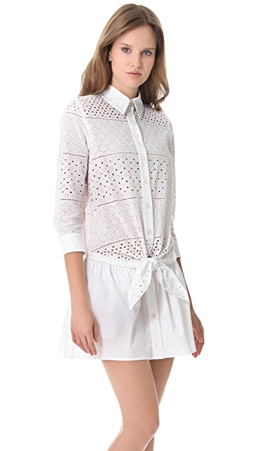 Thakoon Addition Tie Front Eyelet Shirtdress