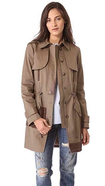 Thakoon Addition Leather Panel Trench Coat