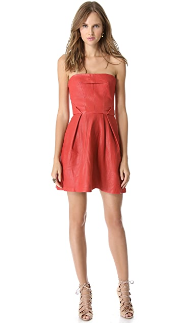 Thakoon Addition Strapless Leather Dress