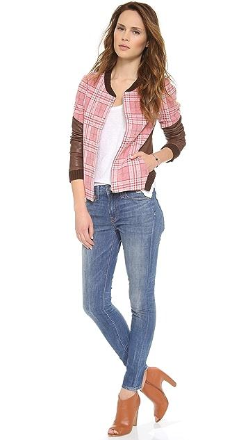 Thakoon Addition Leather Sleeve Plaid Jacket