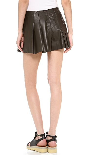 Thakoon Addition Fan Pleated Leather Shorts