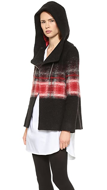 Thakoon Addition Hooded Trapeze Ombre Jacket