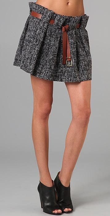 Thakoon Tweed Full Miniskirt with Belt
