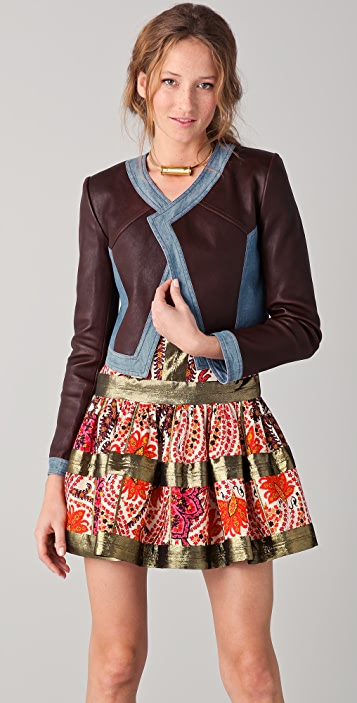 Thakoon Cropped Leather Jacket with Denim Trim