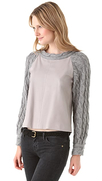 Thakoon Contrast Sleeve Leather Pullover