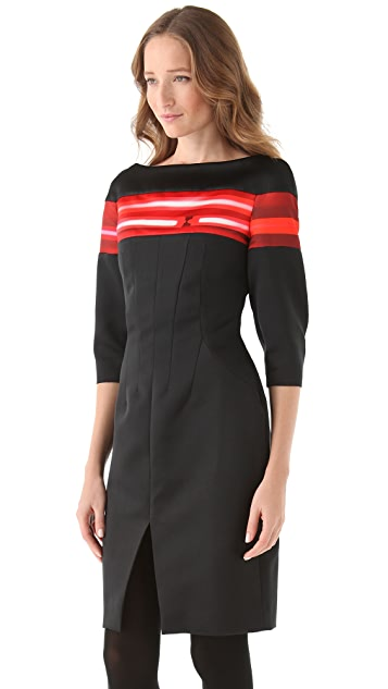 Thakoon Satin Dress with Neon Stripes