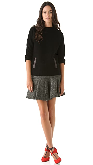 Thakoon Leather Trim Pullover Sweater