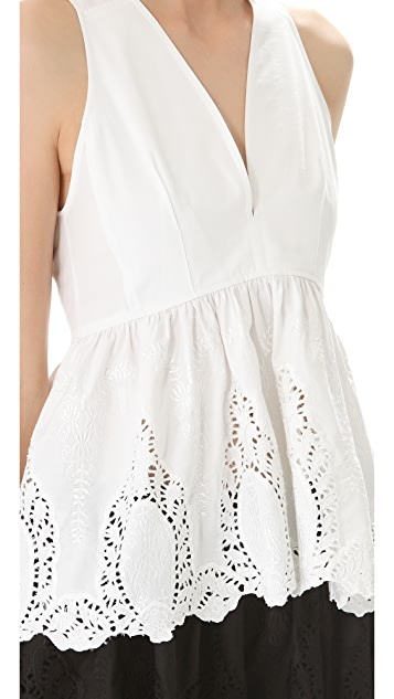 Thakoon Sleeveless V Neck Top
