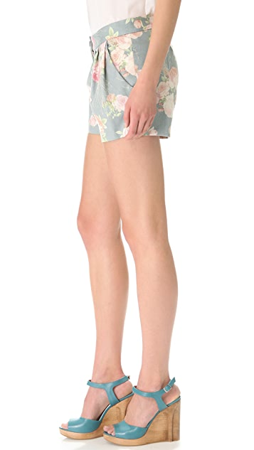 Thakoon Pleated Floral Shorts