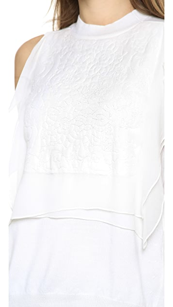 Thakoon Chiffon Front Embroidered Shell