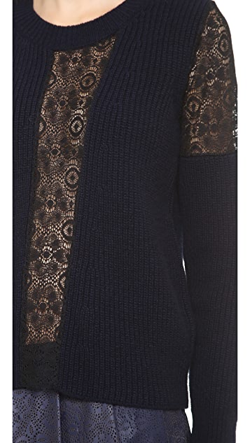 Thakoon Ribbed Lace Inset Pullover