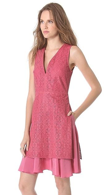 Thakoon Laser Cut Leather V Neck Dress