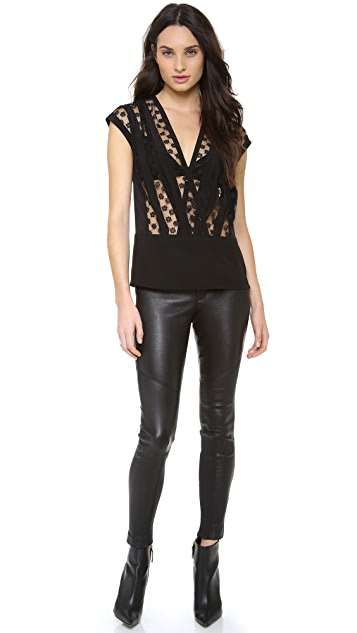 Thakoon Lace Inset V Neck Top