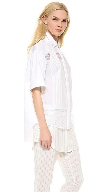 Thakoon Shadow Stripe Lace Shirt
