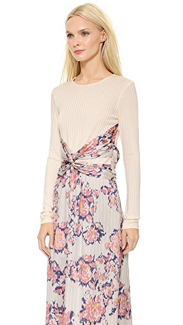Thakoon Long Sleeve Wrap Waist Dress