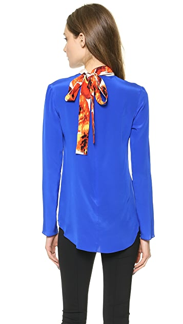 Thakoon Tie Neck Top with Printed Inset