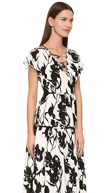 Thakoon Lace Up Floral Dress